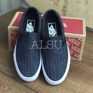 Vans Shoes - Vans Classic Slip On Italian Weave B/ Silver Kid's